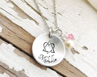 Hand stamped Adoption necklace grandma mother mom mama mommy monogram foster momma pendant birthstone swarovski jewelry