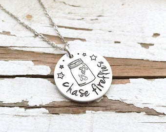 Hand Stamped Chase Fireflies mason jar star pendant necklace stainless steel chain