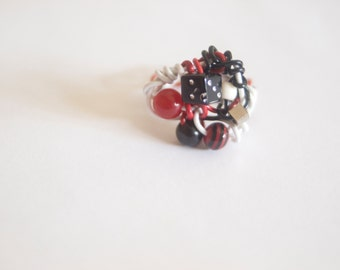 Funky Wire Art Magpie Nest Rings featuring Red covered wire and unique ecclectic beads - Magpie RIngs - Art Jewelry by Sarah McTernen