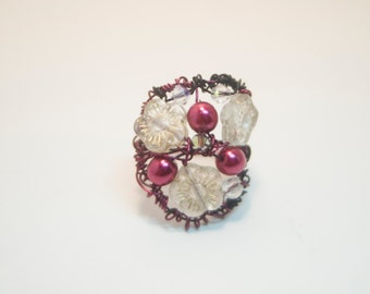 Raspberry and Black Wire Nest Ring with Czech Flowers and Crystal Pearls on Colorized Wire - Boho Chic Art Jewelry for the Eclectic Soul