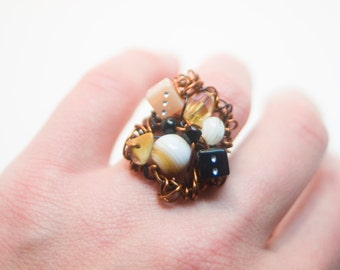 Metallic Brown Wire Nest Ring with Dice and Czech glass Statement Cocktail Ring - Boho Chic Art Jewelry for the Eclectic Soul