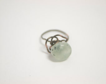 Green Prehnite Nugget Wire Ring - Pale Green Jade Stone on Wire Rose Base - The Sea Rose - Boho Chic Art Jewelry By Ardent LIfe