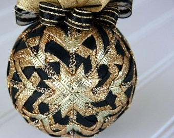 Quilted Ornament Ball/Black and Gold - Midnight Chic