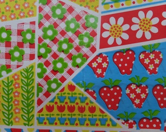 Vintage 1960s Crazy Quilt Strawberries Flowers All Occasion Gift Wrap Wrapping Paper