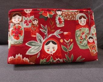 Red Matrushka Makeup Cosmetic Bag