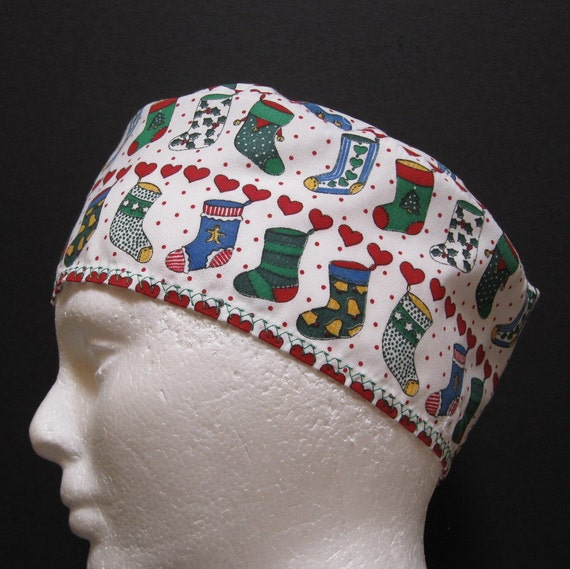 Scrub Hat or Chemo Hat with Christmas Stockings Hanging in a Row
