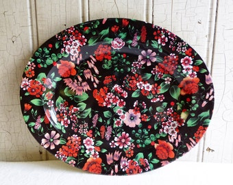 Vintage Red, Pink and Black Flowered Chintz Tin Serving Bowl or Bread Tray - 1960s - Nevco Made in South Africa