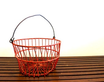 Antique Red Apple Picking Basket