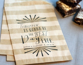 Wedding Favor Bag - Personalized - Best Day Ever - Treat Bags - Candy Bags - Wedding Party Gifts - Rehearsal Dinner Favor - 25 bags