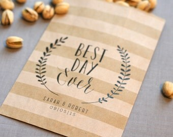 Wedding Favor Bag - Best Day Ever - Custom Printed - Personalized - Treat Bags - Candy Bags - 25 bags
