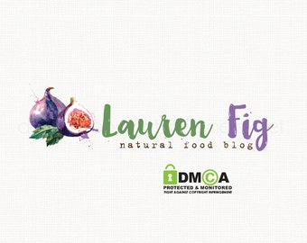 fig logo design fruit logo design food blog logo watercolor logo design premade logo design bespoke logo design kitchen logo watermark logo
