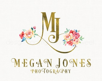 watercolor flower logo gold foil Initials logo design photography logo romantic logo vintage boutique logo bespoke logo watercolour logo