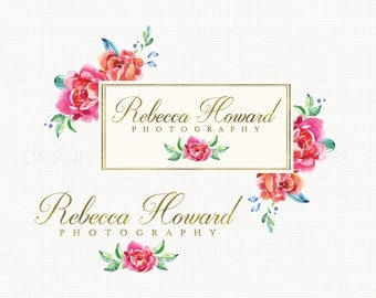 premade event planner watercolor flower photography logo bespoke logo design watercolour logo vintage boutique logo alternate logo watermark