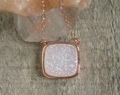 Druzy Necklace, Rose Gold Druzy Necklace, Druzy Jewelry, Agate Drusy, Gemstone Necklace, Layered Necklace, Raw Stone Necklace