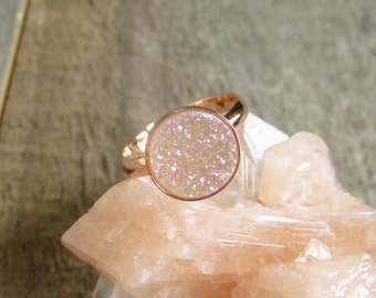 Rose Gold Druzy Ring, Natural Druzy Ring, Druzy Quartz Ring, Druzy Ring, Rose Gold Ring, Solitaire Ring, Gemstone Ring, Adjustable Band