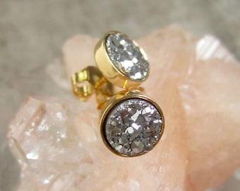 Druzy Earrings, Druzy Stud Earrings, Tiny Silver Stud Earrings, Druzy Quartz Jewelry, Drusy Earrings, Drusy Studs, Stud Earrings, Gold Studs
