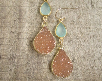 Druzy Earrings Drusy Quartz Sea Green Chalcedony Drops Gold Vemeil Bezel Set