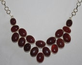 Stunning Huge Red Jasper Cabochon & Sterling Silver Collar Bib necklace MUST See