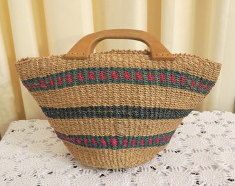 Vintage Weaved Straw Reed Bag Tote Beach Bag Large Handbag