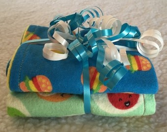 Yummy for My Tummy - Set of 2 Reversible Burp Cloths - Ready to Ship by PiquantDesigns