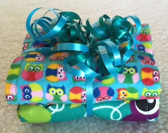 Owls & Birds - Set of 2 Reversible Burp Cloths - Ready to Ship by PiquantDesigns