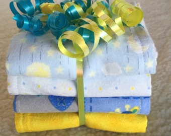 Sweet Dreams (Blue) - Set of 4 Reversible Burp Cloths - Ready to Ship by PiquantDesigns