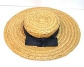 Vintage Straw Hat, Madeline Hat, Girl's Hat