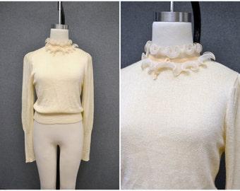 1950s Cream Sweater with Ruffled Neckline