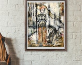 Woman Warrior Painting- Mixed Media Woman - Woman and Lion Painting - The Rebel