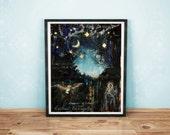 Art Print - Arranging Stars -  8x10 Art Print - Aspen Tree Art -  Spring Time