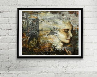 Original Painting - Mixed Media Portrait - Mixed Media painting of Woman