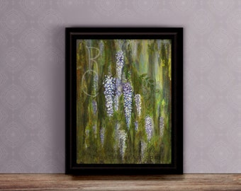 Wisteria Painting - Mixed Media - Floral artwork - Original Painting