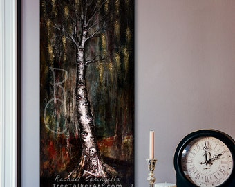 Tree Painting - The Watcher - Large Art Print - Weeping birch painting - Birch tree painting