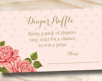 INSTANT DOWNLOAD Gold and Floral Shabby Chic Diaper Raffle Ticket - Digital Download