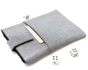 Kobo Mini, Touch, Glo, Aura sleeve case pouch handmade with magnetic closure light jeans and black with pocket