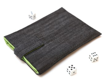Kobo Mini, Touch, Glo, Aura sleeve case pouch handmade with magnetic closure dark jeans and green