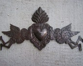 Aged Tin Day of the Dead 3D Door Ornament with Angels Sacred Heart, Brown Patina