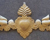 Metallic Golden Tin Day of the Dead 3D Door Ornament with Angels Sacred Heart