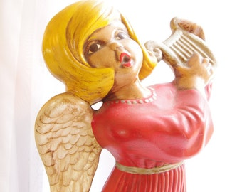Christmas Angel Ceramic Collectible Figurine Vintage Holiday Decor Red Handmade Handpainted Vintage Angel 1970s Retro Home Mantel Decoration
