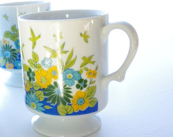 Vintage Coffee Mug Pedestal Tea Cup Small Mug Green Yellow Blue White Floral Birds Vintage Kitchen Country Cottage Romantic Vintage Home