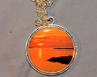 Sun Set Picture Pendant with Resin.