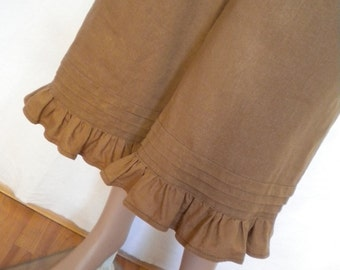 linen pant bloomer knickers wide leg pant ruffle pants  made to order