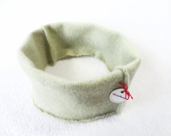 Cashmere Headband and Ear Warmer LIGHT GREEN Earwarmer Head Band Upcycled Sweater by WormeWoole