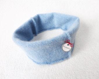 Headband Cashmere Earwarmer LIGHT BLUE Ear Warmer Head Band Upcycled Sweater by WormeWoole