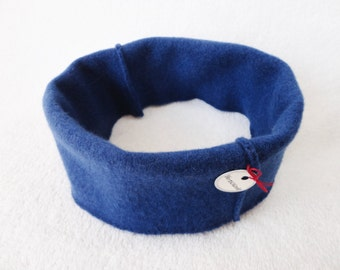 Cashmere Headband Earwarmer Dark ROYAL BLUE Ear Warmer Head Band Upcycled Sweater by WormeWoole