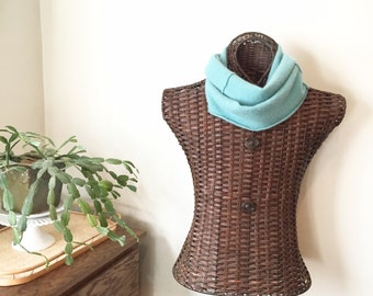 Cashmere Infinity Scarf, JADE Infinity Scarf, Recycled Clothing, Turquoise Cashmere Scarf / Eco Fashion Mothers Day Gift by WormeWoole