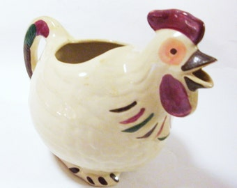 Antique Shawnee Pottery Chanticleer Pitcher - Reds & Greens