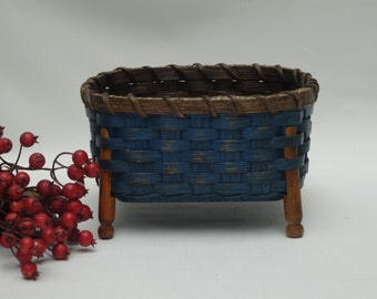 Napkin Basket-Clothespin Basket-Fruit Basket-Bread Basket-Handwoven Basket-Square Basket-Rustic-Primitive