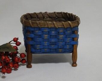 Beverage Napkin Basket-Clothespin Basket-Trinket Basket- Coaster Basket-Handwoven Basket-Square Basket-Rustic-Primitive