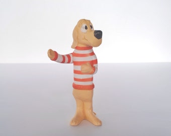 Vintage Beauregard Hound Dog soft vinyl plastic figure, Pogo Comics, 1969 P&G soap advertising premium, Walt Kelly, Japan 1960s rubber toy